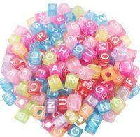 1000pcs misto alfabeto lettera acrilico piatto cubo distanziatore perline 7mm per creazione di gioielli