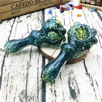 Sıcak Satış Kedi pençe tarzı kaşık el borusu W Cam halka ve Fumed yeşim Frit Sigara Cam El Borular