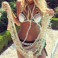 Lady Bikini Sirène Shell Soutien-Gorge Push Up Deux Pièces Costume Femme Maillot De Bain Sexy Maillots De Bain Femme Crochet Crochet À La Main 46dm V