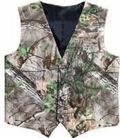 Camo impresso veste coletes de casamento veste groomsman vestes 2 peças conjunto (colete + gravata) plus size caçador de fazenda festa de fazenda de baile de baile ajustável
