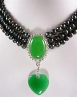3 reihen 6-7mm natürliche schwarze Akoya-zuchtperlen / grüne jade anhänger halskette Kostenloser Versand
