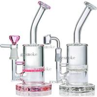 Dab Rigs Bong Glas Bongs Wasserrohre Waben Quartz Banger berauschende Wachsrohr Ölplattform Hitman Rauchen Zubehör rosa Wasserpfeifen