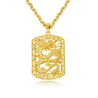 "20 ""Hip Hop Men Necklace Cadena larga Link Punk Gold Dragon Tag Colgante collar"
