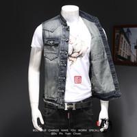 Erkekler Denim Yelek Vintage Kolsuz Yıkanmış Kot Yelek Adam Vintage Tasarım Kovboy Yırtık Ceket Yelek Erkekler Rahat Takım Elbise Yelek