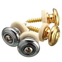 2 pçs / par cogumelos cabeça botões alça fechaduras ouro / prata guitarra baixo cinto fivela botão guitarra peças acessórios