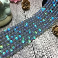 6/8/10 / 12mm Polonês Maçante Cinza Cristal Moonstone Beads Redonda Solta Noctilucent Stone Beads Artesanais DIY Jóias acessórios