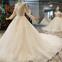 Deep V- Neck Wedding Gown Luxury Applique Beaded Long Lace Tu...