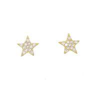 2018 새로운 도착한 독특한 디자인 스타 스터드 스타 플레이트 귀걸이 크리스마스 선물 쥬얼리 925 스털링 실버 고품질 포장 된 cz