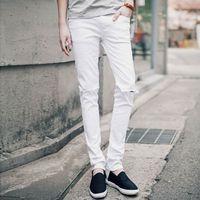 Hip Hop Erkek Casual Skinny Jeans Pantolon Erkekler Katı Siyah Beyaz Kalem Kot Genç Erkekler Için Diz Delik Ile Dilenci Kot Yırtık