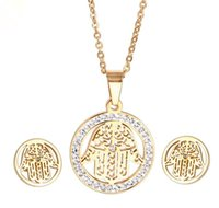 Stainless Steel Hamsa Fatima Palm Necklace lucky Turkish Kabbalah hand pendants earring set for women fashion jewelry