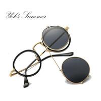 0a9a695c42700 Yok s Polarizada Óculos De Sol dos homens Steampunk Rodada Clip On óculos  de Sol Óculos de