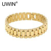 UWIN Männer Edelstahl Hip hop Stil Armband 24 Karat Gold Silber Uhrenarmband Link Mode Punk Schmuck 15mm 21mm