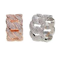 TAMAÑO DE EE. UU. 9,10 nuevo llega diseño dorado lleno Real micro pavimentado bling cz diseño de cadena de eslabones cubano único hip hop bling anillo para hombre