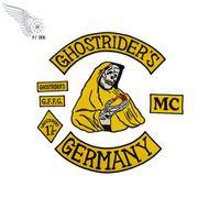 2018 Sarı Ghostrider Almanya Nakış Demir On Yamalar Giyim Büyük Rider Geri Yama Için