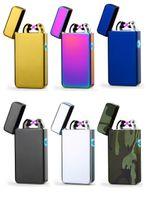 더블 ARC 전기 USB 라이터 충전식 플라즈마 방풍 펄스 Flameless 담배 라이터 화려한 충전 usb 라이터