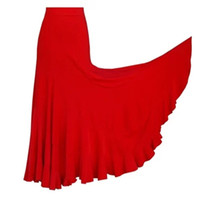 Siyah Kırmızı Yetişkin / Kadın Flamenko Etek Uzun Elbise Etekler Flamenko Dans Kostümleri İspanyolca Dans Etekler Standart Balo Salonu