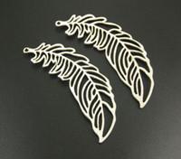 100 Pcs en alliage Grand Filigrane Plume Feuille Charmes Antique argent Charms Pendentif Pour collier Fabrication de Bijoux 38x13mm