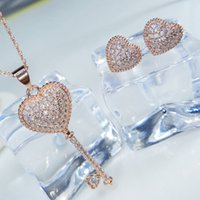 New Fashion Trendy Women AAA Cubic Heart Jewelry Set Gold Pl...