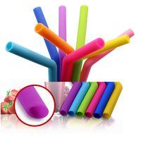 20 штук загнулись силикона Eco соломинки высокой стойкостью к температуре 25 см стандарт FDA соломенный мат resuable питьевой присоски