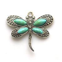 2pcs pendentif en pierre vintage mode bijoux nouveau 2017 libellule animal couleur antique pendentif bricolage collier fabrication de bijoux