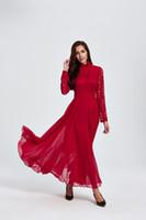 2018Spring Nouveau style Top qualité Femmes Dentelle Robe En Mousseline De Soie À Manches Longues De Mode élégante Robe Longue Sexy Robe De Soirée Vin rouge M L XL 2XL