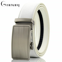 Genuxury Fashion Design Male Belts Casual Ratchet Dress Genuine Leather Belt for Automatic Buckle