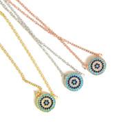 100% стерлингового серебра 925 классический ожерелье круглый диск микро проложить красочные cz бирюзовый сглаза очарование lucky girl подарочные цепи