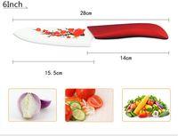 Hot Findking Высокое Качество Красный Цветок Окрашены Циркония Керамическая Кухня Кухонные Фруктовые Нож Комплект Комплект Очистить Накрыть Горячая Продажа