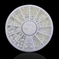 Ny Beige Vit Pearl Nail Art Stenstorlek 2mm 3mm 4mm Hjul Rhinestones Pärlor Lovely Solid Imitation Pearl Decoration för naglar