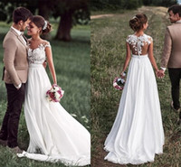 Country Style Boho Wedding Dresses Designer Chiffon A Line L...