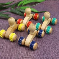 Full Solid Wood Household Roller Massage Belly Waist Body Ma...