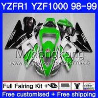 Кузов для YAMAHA зеленый белый горячий YZF R 1 YZF 1000 YZF1000 Yzfr1 98 99 кадр 235HM.11 YZF-1000 YZF-R1 98 99 корпус YZF R1 1998 1999 обтекатель