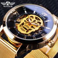 Reloj ganador Classic Black Golden Skull Display Reloj luminoso luminoso Horloge Mannen Reloj mecánico automático para hombre Mesh Belt