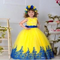 Ball Gown Flower Girls Dresses With Gold Sequined Flowers Je...