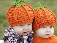 Bébé Citrouille Chapeaux Enfant En Crochet Tricoté Potiron Chapeau Enfants Citrouille Photo Props Caps Infantile Halloween Costume Hiver Chapeaux Chauds