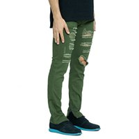 Fashion Men Stretch Ripped Destroyed Zipper Jeans Amry Green...