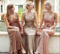 2018 Vestidos de dama de honor de lentejuelas de oro baratas de oro para bodas con lentejuelas en V cuello de respaldo Largo Largo árabe Maid of Honor Wedding Gown