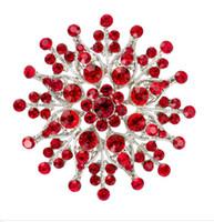 2.4 Inç Rodyum Gümüş Kaplama Kırmızı Rhinestone Kristal Diamante Büyük Broş Pin Hediyeler Buket Dekor