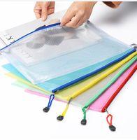 2018 Nuevo 5 colores A4 / A5 Bolsa de almacenamiento de PVC School Office Supply Transparent Loose sheet Cremallera para portátil Self-sealing File Holder Regalos creativos