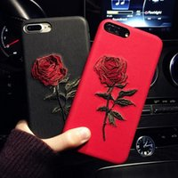 Embroidery Rose Case For iPhone X 7 8 6 6S Plus Cover Capa C...