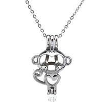Zilveren schoonheid schattige mini aap holle olie diffuser medaillon vrouwen aromatherapie kralen parel oester kooi ketting hanger-boutique cadeau