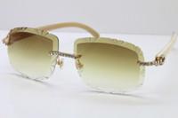 자체 제작 선글라스 새로운 큰 돌 제한판 T8200762 화이트 정품 자연 안경 뜨거운 유니섹스 태양 안경 무리한 새겨진 렌즈