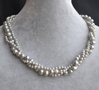 Genuine Pearl Necklace, 18inches 4- 8mm 3rows Natural Freshwat...