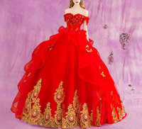 2018 New Red Ball Gown Quinceanera Dresses With Gold Appliqu...