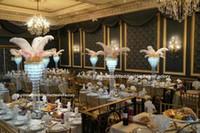 Toptan yeni stil geliyor) lüks uzun kat şamdan çiçek standı düğün centerpieces