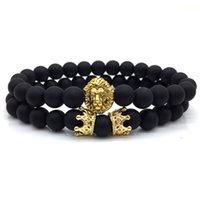 2pcs/set 2018 New Fashion Lion Crown Couple Charm With Lava Bead Bracelet Sets For Men Wristband Jewelry Accessories