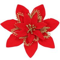 20 см искусственные цветы красный серебряный золотой цвет рождественские украшения для дома Рождественская елка украшения новогодняя елка декор