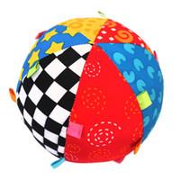 다채로운 아기 어린이 반지 벨 공 아기 천으로 음악 감각 학습 장난감 공 교육 목화 손으로 파악 공