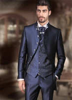 Cheap Blue Men Suit Fit Groom Tuxedos Groomsman Wedding Suit...