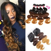 Brazilian Ombre Body Wave Bundles with Closure 3 Tone Blonde...